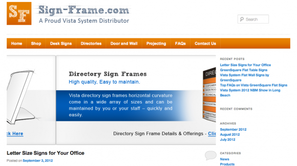Vista System Sign Frames