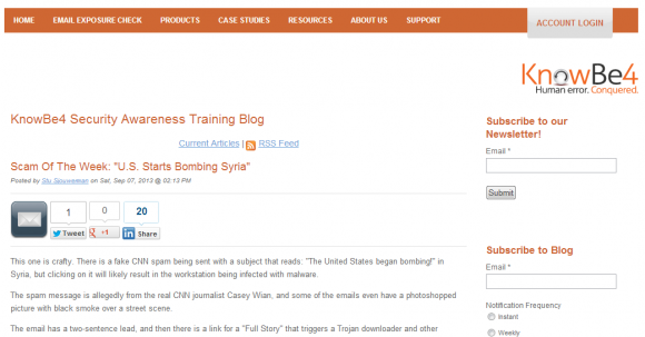 KnowBe4 Security Awareness Training Blog