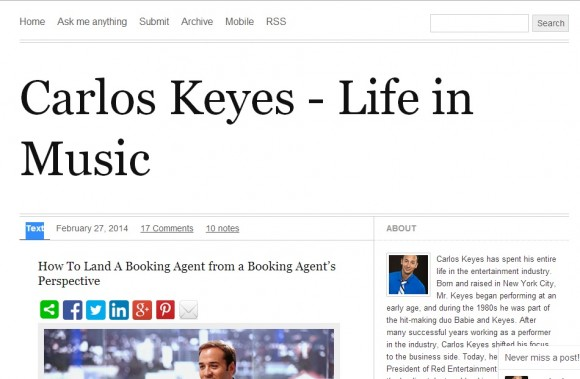 Carlos Keyes – Life In Music Blog