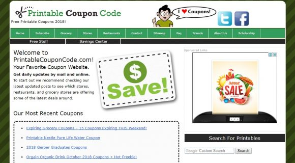 Printable Coupon Code